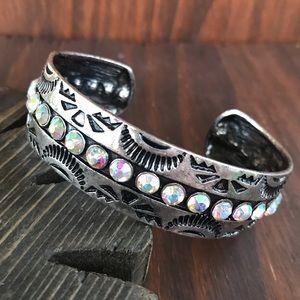 Jewelry - Silver Embossed Rhinestone Bracelet